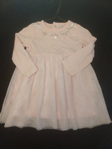 NEW CARTER'S light pink LS dress w/tulle overlay. SIZE 18M