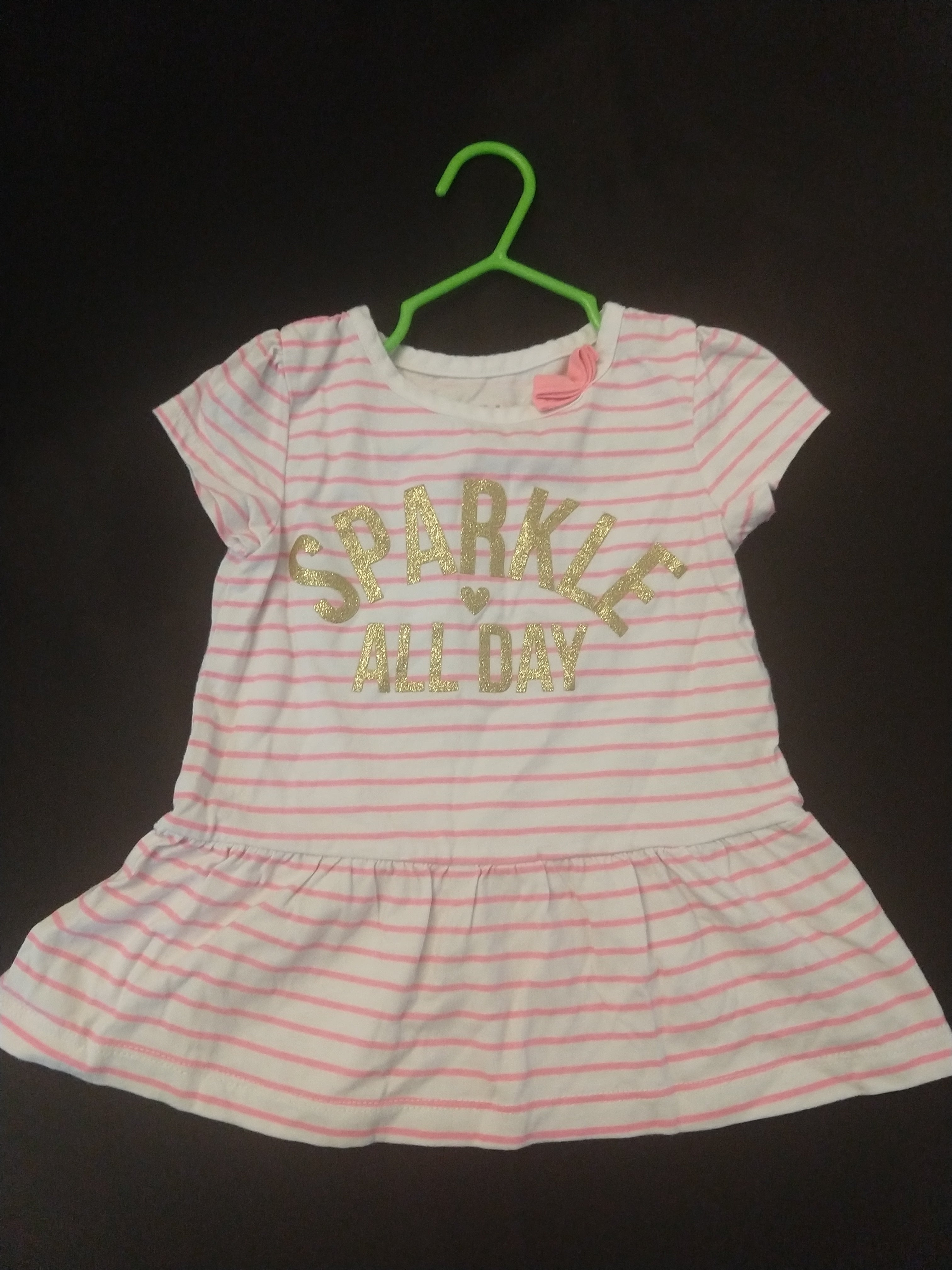 "CHILD OF MINE white/pink stripe peplum tunic ""Sparkle All Day"". SIZE 2T"