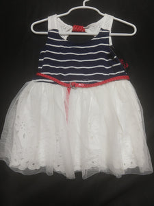 NWT GIRLS RULE! Navy blue/red/white keyhole back tank dress with tulle overlay. Size 2T