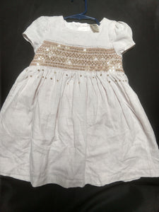 OSHKOSH heathered oatmeal linen-look dress with gold sequins. SIZE 24M