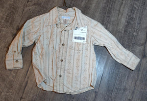 OLD NAVY tan button up long sleeve: size 2t