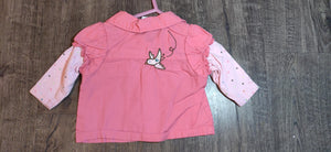 CHEROKEE pink button up shirt w/ bird: size 0-3m