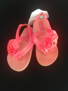 CRAZY8 neon orange flip flops with back strap, flower. Toddler size 7/8