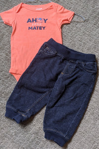 "2 pc outfit, orange""ahoy little matey"" onesie with denim looking swears, Size 9m"
