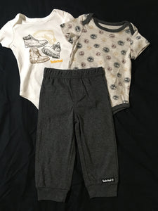 Timberland Boys 3 Piece Set - 2 Onesies, 1 Pants - Size: 18m - New