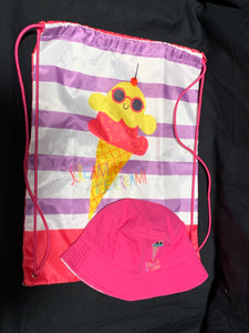 pink drawstring bag with purple/white stripes & pink bucket hat