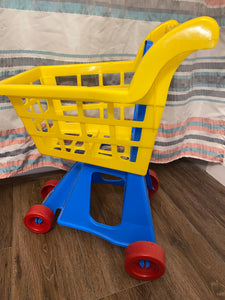 Blue and yellow toddler shopping cart