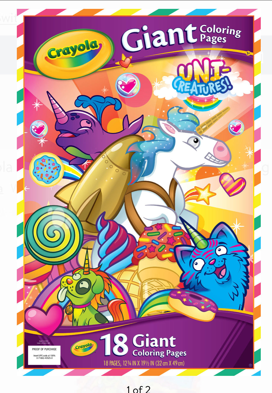 CRAYOLA Giant Coloring Book UNICREATIONS 18 pages NEW