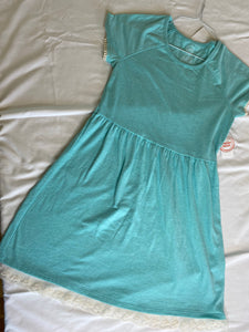 WONDER NATION Aqua Dress - Super Soft Raglan with Lace Trim (Size 10-12) NWT
