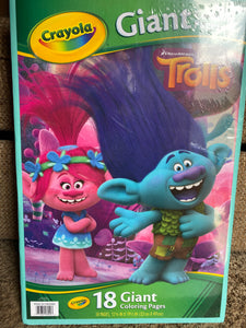 CRAYOLA Giant Coloring Book TROLLS 18 pages NEW