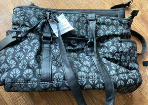CARTERS 4 piece diaper bag, stroller tote, wristlet, and changing pad. Black and grey with blue lining