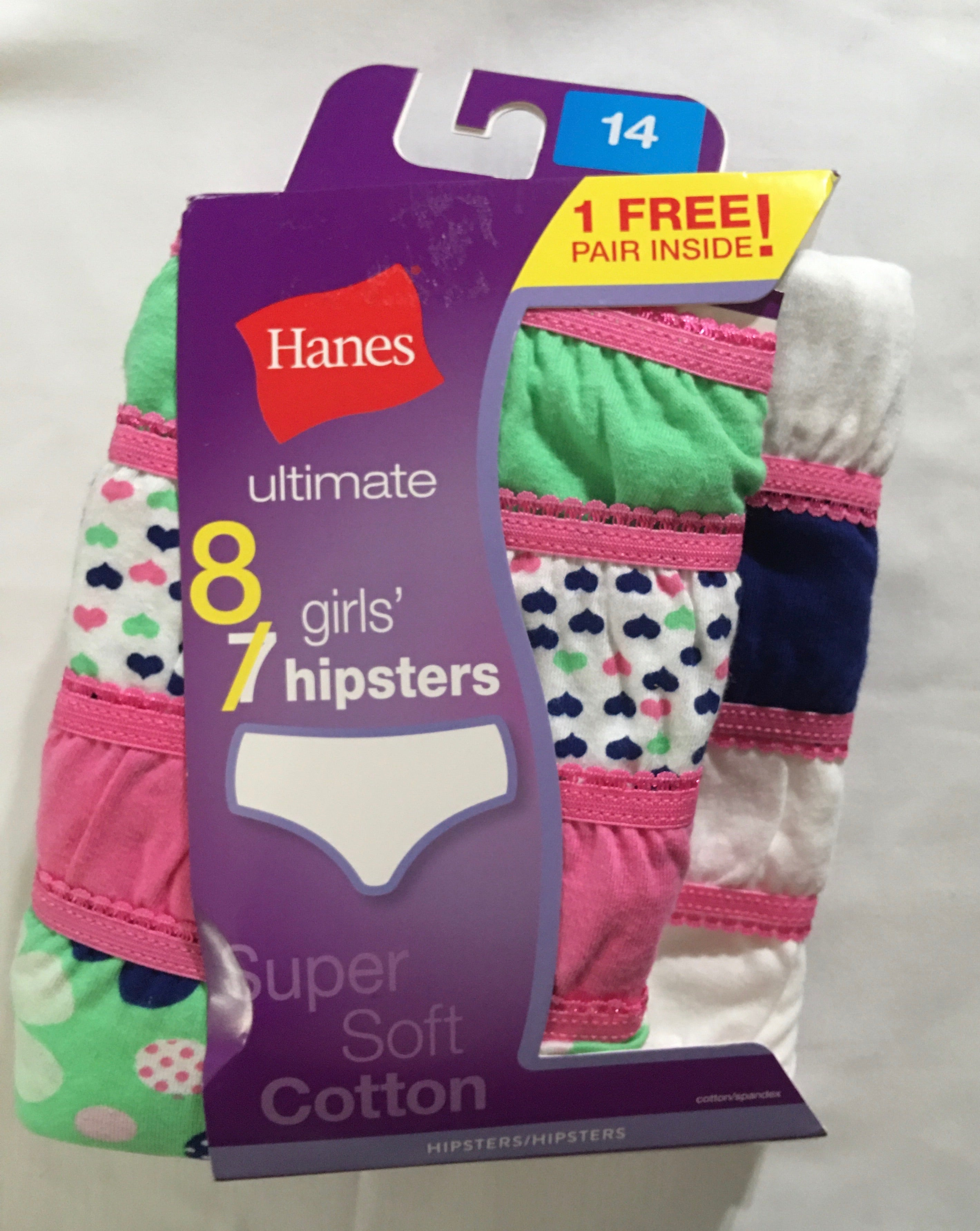 HANES Ultimate Super Soft Cotton Girls Hipster Panties *NEW  8pk SIZE 14