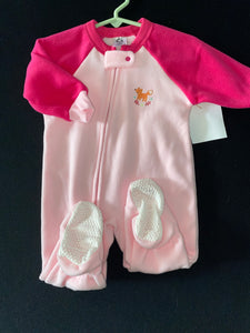 Gerber NWOT pink fleece Footy pajamas with fox; 6-9 m