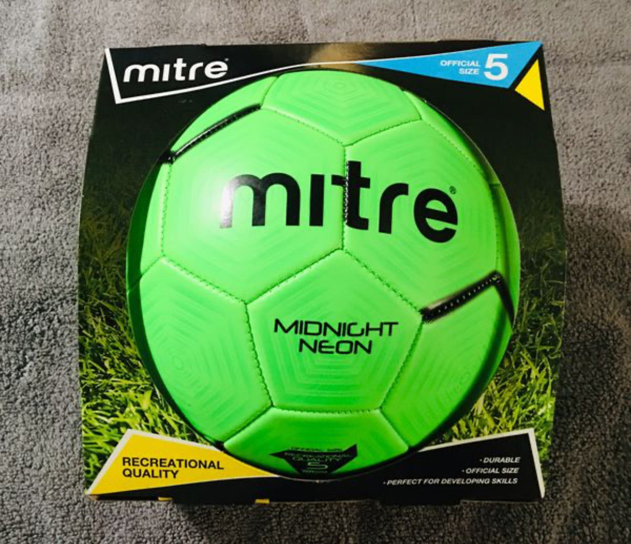 MITRE Soccer Ball Official Size 5 - Neon Green - NEW