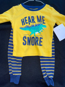 "Carter's  LS Dinosaur jammies shirt and pants ""hear me snore"" ;  2T"