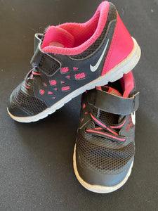 Nike hot pink and black Velcro tennis shoes; 8
