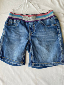 VIGOSS Denim Shorts with Sparkly Striped Waistband, Size 10