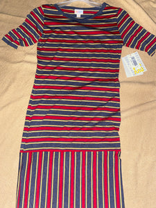 NWT LulaRoe Julia dress crimson grey and yellow stripes ;XS