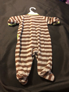 CARTER'S boy LS brown/grew terry cloth footie sleeper w/ dino, size 3m