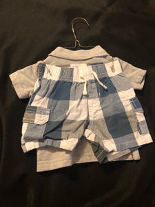 2 pc. KIDS HEADQUARTERS outfit: grey SS polo w/ ship in bottle, anchor & blue/grey/white plaid cargo shorts, size 3-6m