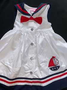 Good Lad Red white sailor dress w/ blue collar & red bow; 4