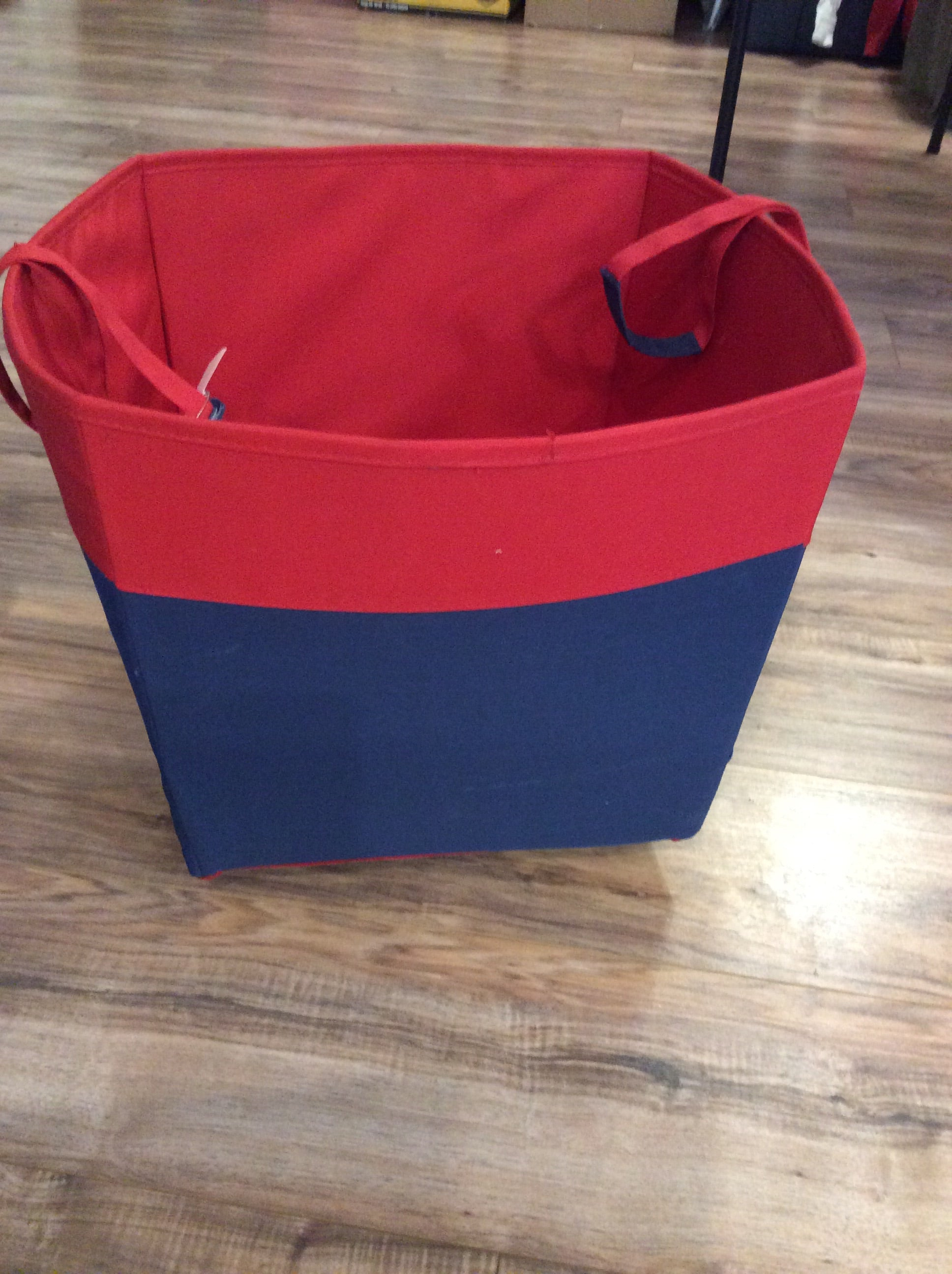TARGET Navy blue/red wheeled storage bin with handles
