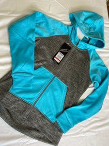 HEAD Turquoise/Grey Heather Zippered Hoodie NWT, SIZE 10-12