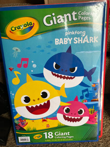 CRAYOLA Giant Coloring Book Baby Shark 18 pages NEW