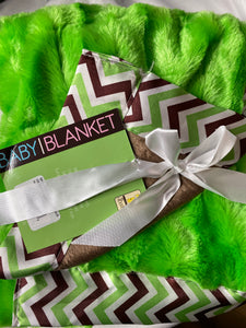 SILVER ONE BABY Silky Blanket - Green/Brown Chevron *NEW