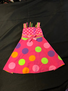 RARE, TOO Pink Tank Dress with colored polka dots and Ribbon Tie, Size 18m