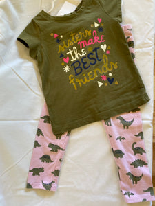 "2 pc CAT & JACK Dinosaur Outfit - ""Sisters Make the Best Friends"", Size 2T"
