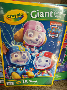 CRAYOLA Giant Coloring Book  Paw Patrol - Yellow 18 pages NEW