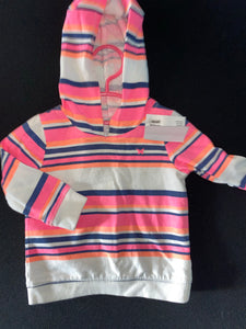Carter's pink light weight hoodie w/ blue & white stripes  12m