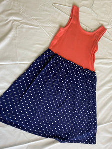 FADED GLORY Tank Dress - Coral/Navy Dots, Size 10-12