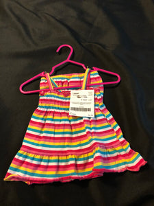 2 pc. FADED GLORY red/pink/blue/white/yellow striped tank & matching shorts, size 0-3m