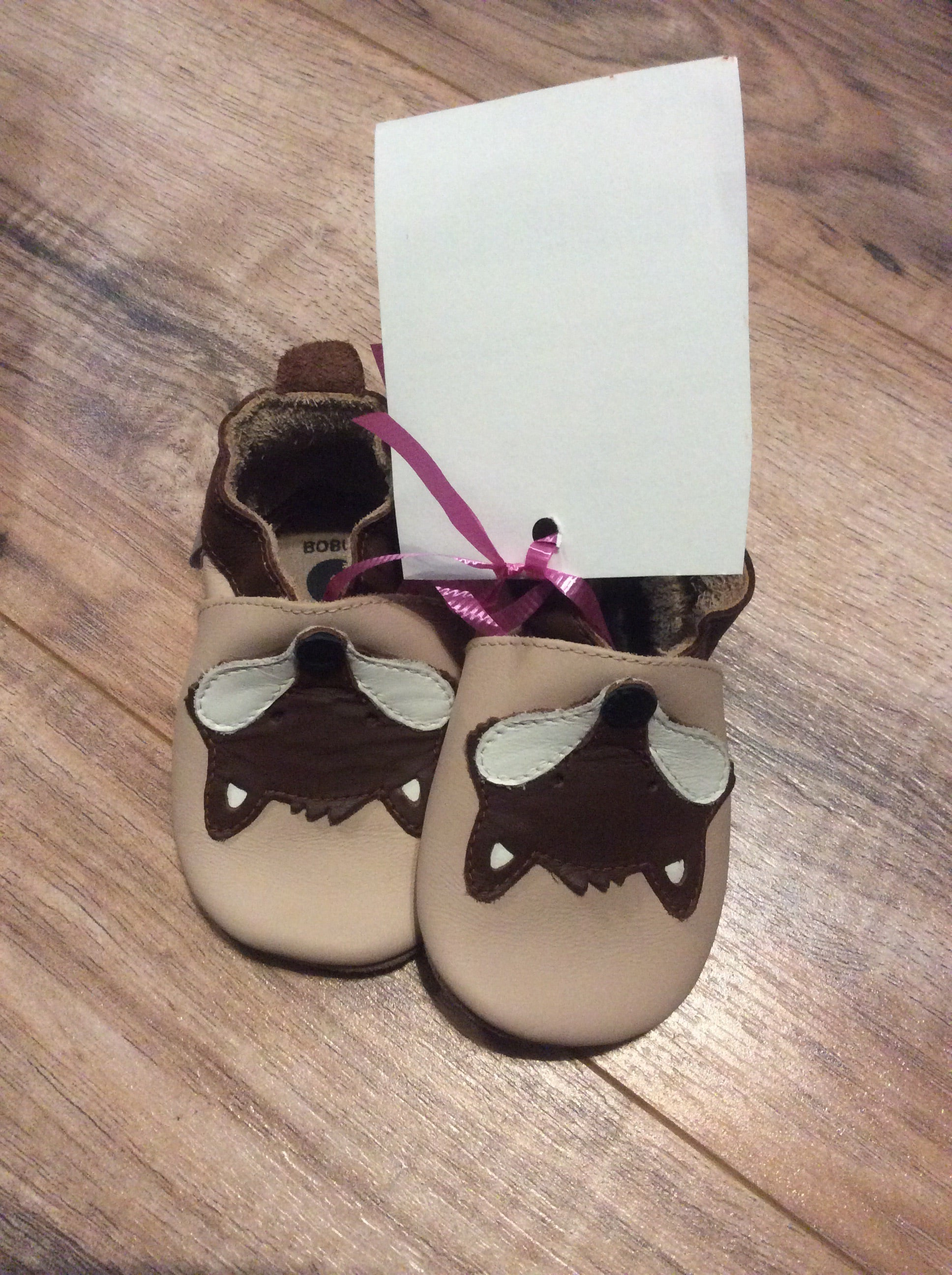 BOBUX Leather Soft Sole Fox baby shoes. Ages 3-9 months. SIZE 1