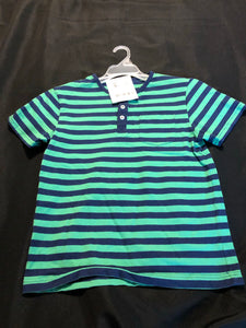 GYMBOREE green/navy striped SS henley t-shirt w/ front pocket, size 12