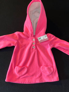 Carter's hot pink hoodie w/ heart shaped pocket;12m