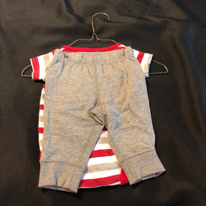 2 pc. BABY STARTERS grey/white/red striped SS onesie, CARTER'S grey pants, size 3m