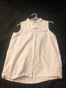 CHEROKEE Girls White Collared Button down Sleeveless Top, size 10-12