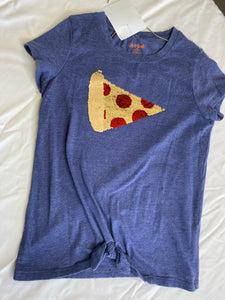 CAT & JACK Blue T with Sequined Pizza - Size 10-12