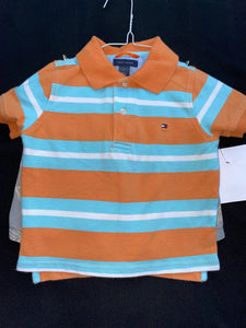 Tommy Hilfiger Orange/blue striped polo Shirt & old navy grey jungle print shorts 2T