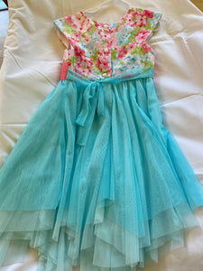 JONA MICHELLE Pastel Floral Dress with Pink sash, Size 5