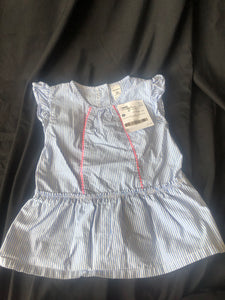 CARTER'S.  Sleeveless Shirt.  Blue and White Stripes.  Size 5T