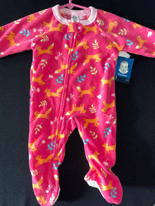 NWT Gerber pink fleece Footy pajamas with foxes; 6-9m