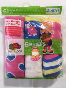 FRUIT OF THE LOOM  Girls Briefs  *NEW  6pk SIZE 4T/5T