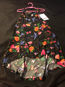 OLD NAVY Black Floral High Low dress, size 5 (XS)