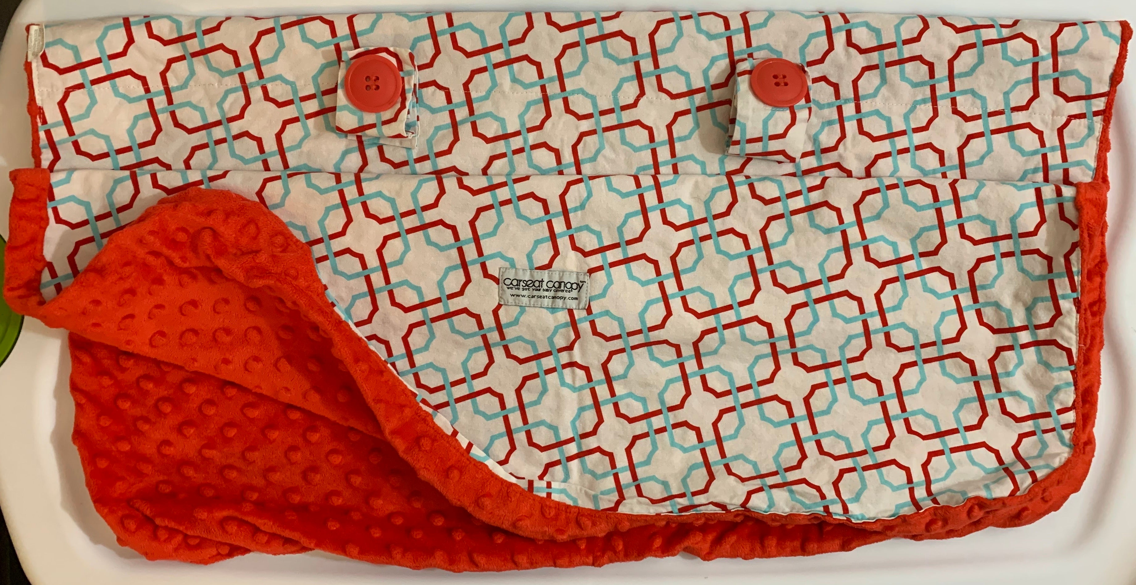 Car Seat Canopy - Red, White and Light Blue Colors