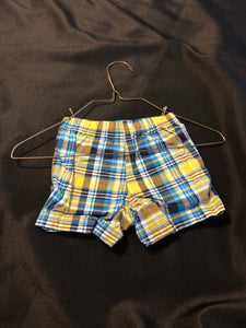 CARTER'S Boys blue/white/yellow plaid shorts, size 6m