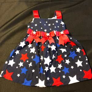 JESSICA ANN Navy Blue Tank Dress with Red, White & Blue Starts, Three Red stars along front, Size 2T